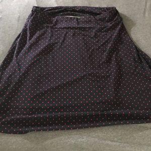 Women's Navy and red polka dot knee length skirt